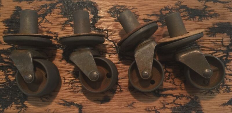 4 Vintage Swivel All Steel Casters For Furniture Legs Screw Into Wood-w/Gaskets