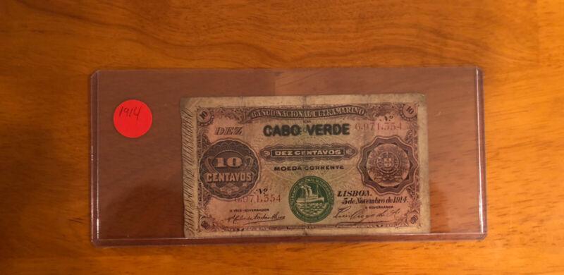 Cape Verde (Portuguese) 1914 10 Centavos P-20> Fine