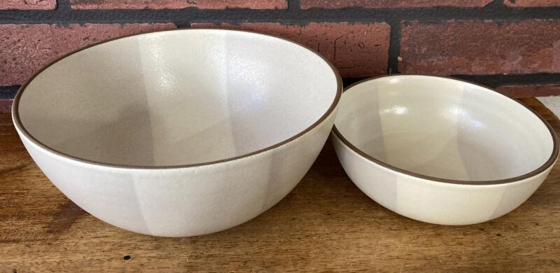 "Edith Heath Pottery Set Large Bowl 8 1/4"" D x 3 3.5"" Tall! 6.5"" By 2 1/8"""