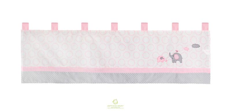 One OptimaBaby Pink Grey Elephant Window Valance