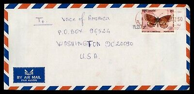 DR WHO 1991 CAMBODIA METERED AIRMAIL TO USA BUTTERFLY  g18363