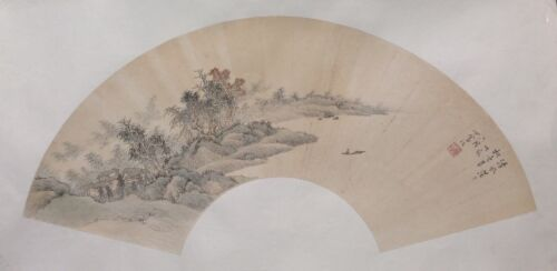 LARGE Antique / vintage Chinese brush painting on paper fan SIGNED