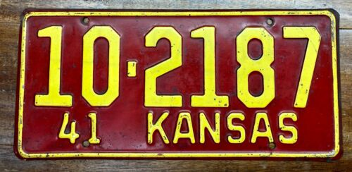 VERY NICE LOOKING, ORIGINAL 1941 KANSAS LICENSE PLATE, 10 2187, CHEROKEE COUNTY