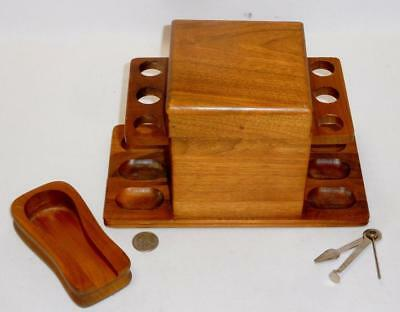 Vintage 6 Pipe Stand & Humidor w/ Extra Stand & Atmos Pipe Kit Lot 45