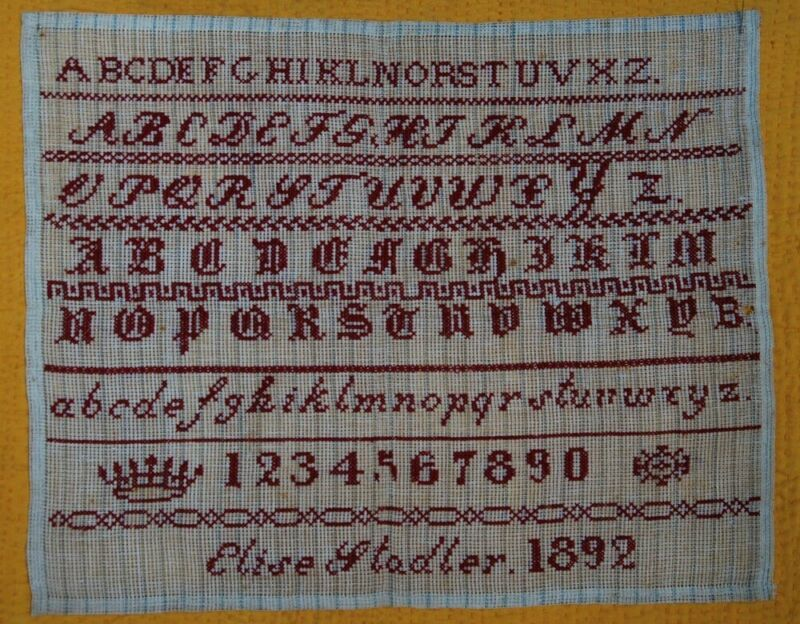 DATED 1892 RED WORK SAMPLER ~  5 ALPHABETS ~ NUMBERS