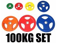 "FXR SPORTS 100KG SET OF TRI GRIP 2"" HOLE OLYMPIC WEIGHT WEIGHTS PLATES 50MM HOLE RUBBER"
