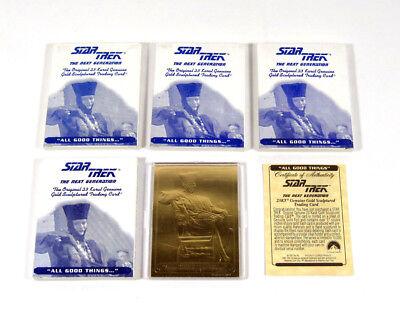 "Lot of (4) 1995 Star Trek TNG ""All Good Things"" 23 Karat Gold Sculptured Cards"