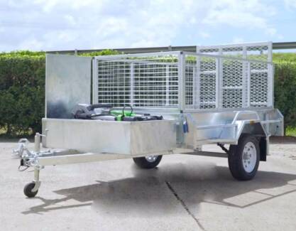 Trailers – 7×4 Cage Box Trailer with Mower box and Ramp Brisbane