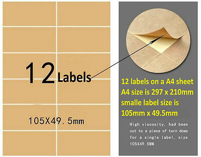 Blank Kraft Label Sticker 12 Labels In A Sheet For Laser Inkjet Printer 50pcs