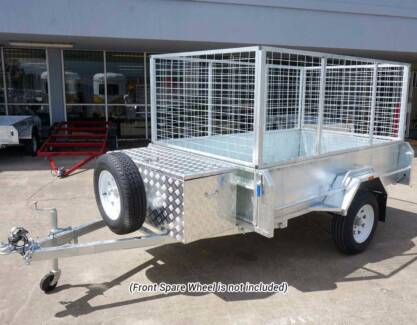 Trailers – 8×5 Cage Box Trailer High Sides with Tool Box Brisbane