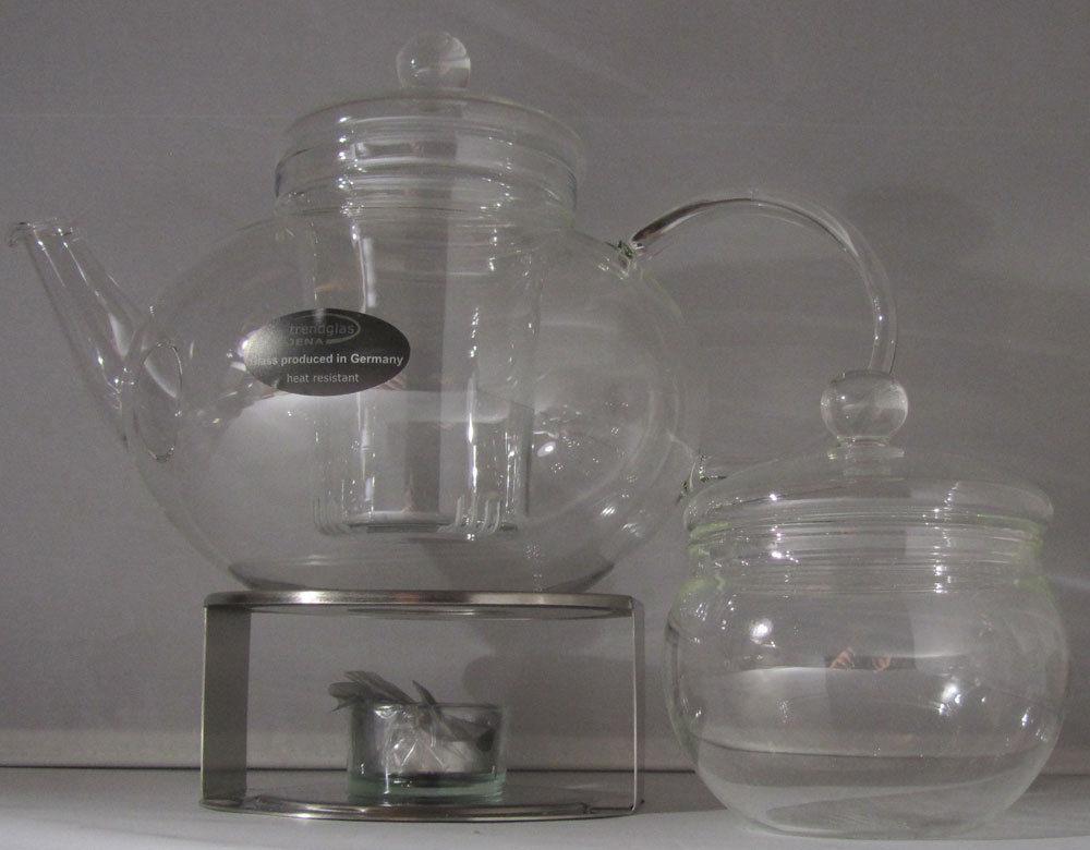 Teekanne Miko 1,2L mit Glasdeckel und Stövchen Trendglas Jena Borosilikatglas