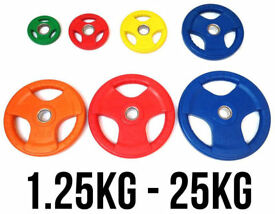 "BRAND NEW **TRI GRIP OLYMPIC WEIGHT PLATES DISCS GYM BARBELL FXR SPORTS RUBBER 2"" -50MM HOLE"