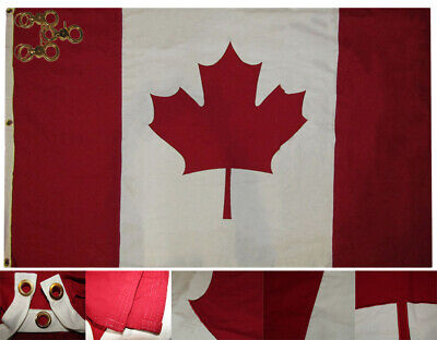4x6 Canada Country Embroidered 100% Cotton Flag 4'x6' Banner Grommets 3 Clips