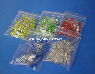 500pcs 3mm Round Top Led Light White Yellow Red Green Blue Assorted Box Diy Set