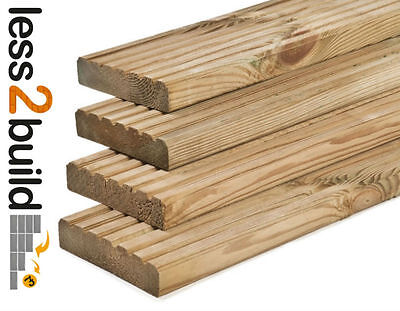 A GRADE TREATED DECKING BOARDS 32x125mm 4.8M LONG TIMBER DECKING GARDEN