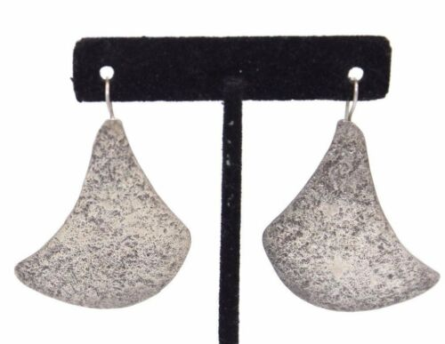 """BIG 2""""+ Vtg CONTEMPORARY Modernist BIOMORPHIC Sterling Silver TEXTURED Earrings"""