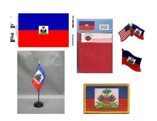 Haiti Heritage Flag Pack - Haitian 3x5 Flag, 2 Lapel Pins, Vinyl Decal