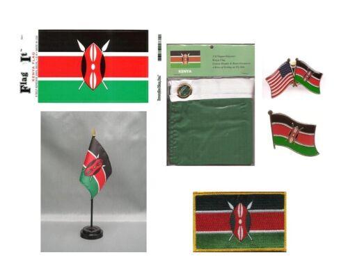 Kenya Heritage Flag Pack - Kenyan 3x5 Flag, 2 Lapel Pins, Vinyl Decal