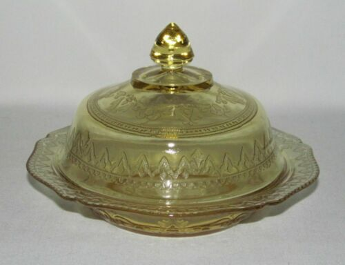 """Federal Glass PATRICIAN """"Spoke"""" Amber Butter Dish with Cover"""