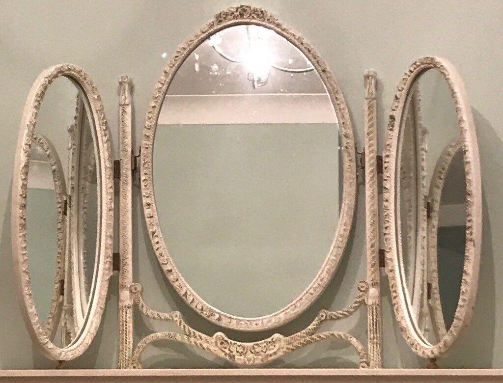 Mirror 3 Way Panel Cream Free Standing Folding Vintage Antique Decorative Dressing Table