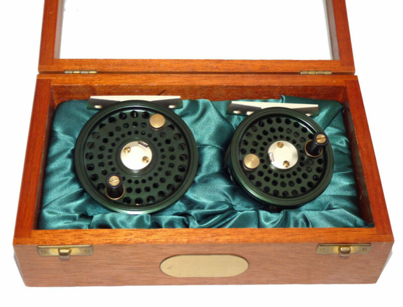 2 J W Young Special edition alloy trout fly reels in mahogany presentation ca...