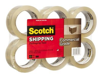 3750-6 3m Scotch Commercial Grade Shipping Packaging Tape 6 Pack