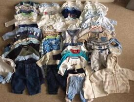 Baby boy bundle 75 items first size, newborn and 0-3 months.
