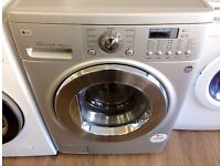LG, Silver & Chrome , 8KG/4KG , Direct Drive WASHER DRYER + 3 Months Guarantee + FREE LOCAL DELIVERY