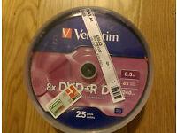 25 Verbatim Dual Layer DVD+R 8x DL Double layer blank Discs 8.5GB