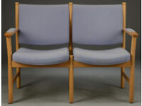 Vintage retro Danish mid century 2 seater sofa blue wool light wood bench seat