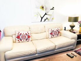 Cream leather sofa 3 & 2 piece in excellent quality.