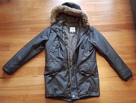 Only & Sons Coated Parka with Faux Fur Hood - Charcoal / Small