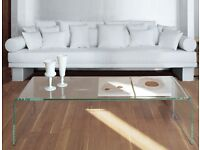 Large Curved Clear 10mm Safety Glass Coffee Table(With a gift)