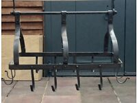 lovely country grey steel hanging pot and pan rack