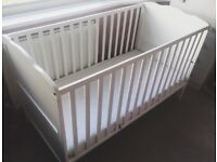 White baby / toddler cot / cot bed with detachable baby changer