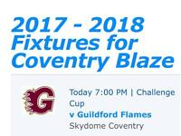 Family ticket for Coventry Blaze v Guildford Flames ice hockey match