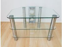 A John Lewis Chrome and Tempered Glass Corner TV Stand. W.60cm D.40cm H.40cm