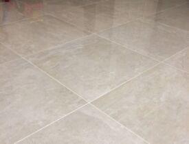 Cream Polished Marble Effect Porcelain Tiles