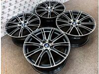 "BRAND NEW 19"" BMW M5 STYLE ALLOY WHEELS - 5 X 120 - GREY WITH DIAMOND CUT FINISH"