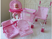 Chad Valley Babies to Love Doll's Sleep, Feed and Travel Set with Baby and Pushchair.