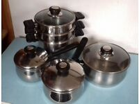 STAINLESS PAN STEAMER + 3 'MEYER' STAINLESS STEEL SAUCEPANS WITH GLASS LIDS