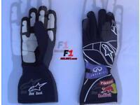 Sebastian vettel's Red Bull Racing gloves 2012 F1 season in a signed By Vettel frame