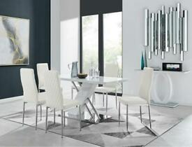 Ivy Bronx Upholstered Dining Chair x 6. Milan White Chrome Hatched RRP£250.00