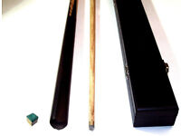 2 PIECE ASH POOL/ SNOOKER CUE WITH HARD CASE