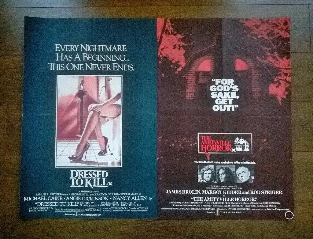 the amityville horror / dressed to kill ' original cinema poster