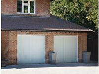 2 Automated Up & Over Garage doors: Woodrite Buckingham Chalfont 70x70 Cedar Clad & Sommer Operators