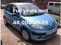 CITROEN C3 FSH 1.4 48,000 MILES FULL YEARS MOT