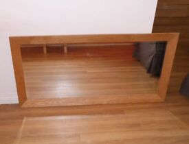 LARGE SOLID OAK MIRROR - 135cm x 63cm - EXCELLENT CONDITION