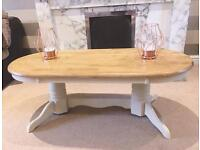 Cream Solid Oak Country Style Coffee Table with Chunky Feet