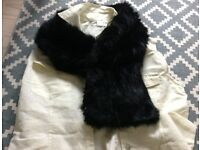 Chic and luxurious black faux fur neck warmer, fully lined, glamorous looking - great condition